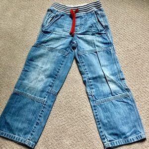 Mini Boden boys elastic waist cargo jeans.